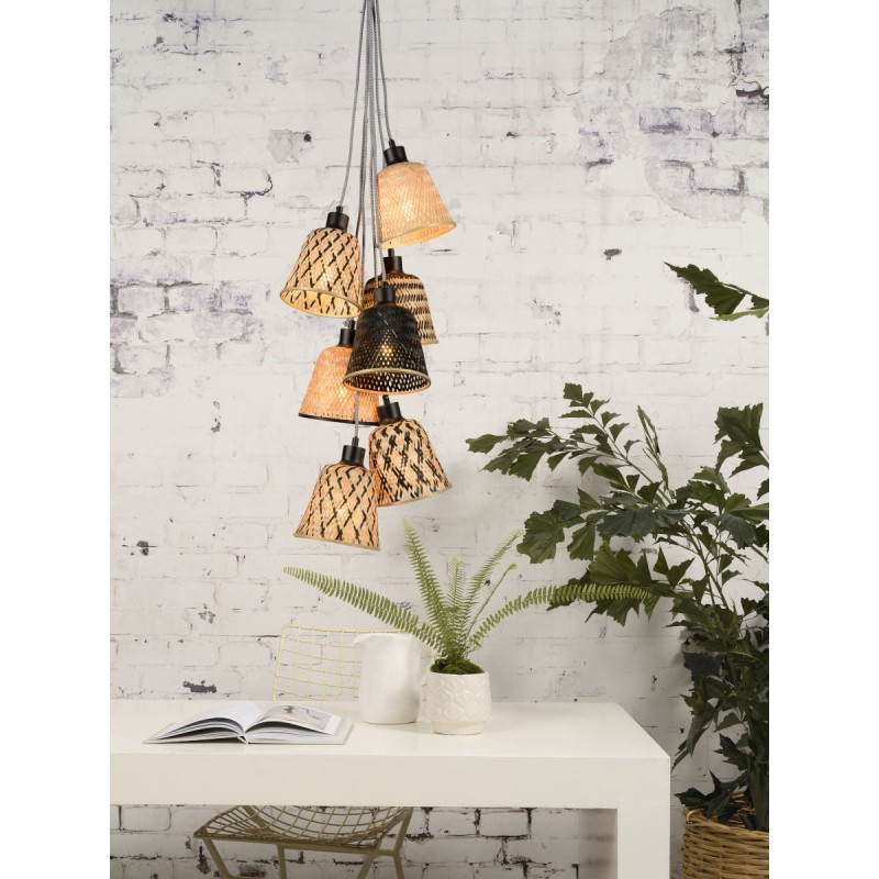 KaliMANTAN 7 bamboo suspension lamp lamp shade (natural, black) - image 45278