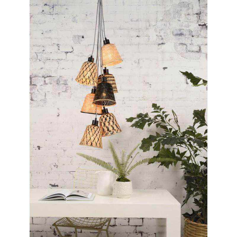 Lampe à suspension en bambou KALIMANTAN 7 abat-jours (naturel, noir) - image 45278