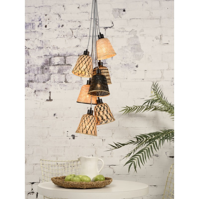 KaliMANTAN 7 bamboo suspension lamp lamp shade (natural, black) - image 45279