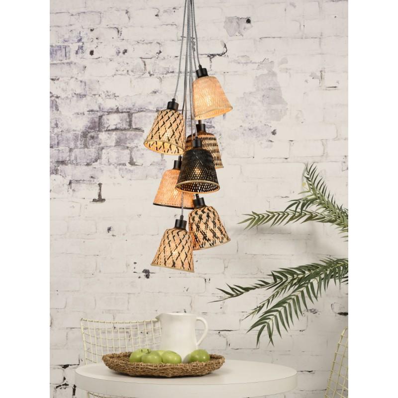 Lampe à suspension en bambou KALIMANTAN 7 abat-jours (naturel, noir) - image 45279