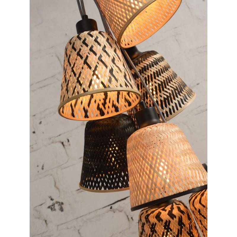 Lampe à suspension en bambou KALIMANTAN 7 abat-jours (naturel, noir) - image 45282