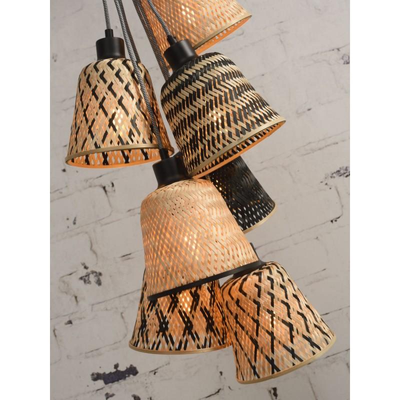 Lampe à suspension en bambou KALIMANTAN 7 abat-jours (naturel, noir) - image 45283