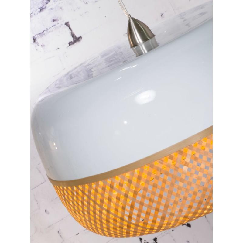 Lampe à suspension en bambou MEKONG plat (Ø 60 cm) 1 abat-jour (blanc, naturel) - image 45351