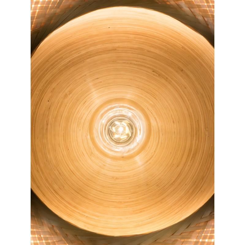 MEKONG flache Bambus Hängeleuchte (60 cm) 1 Schattierung (weiß, natur) - image 45352