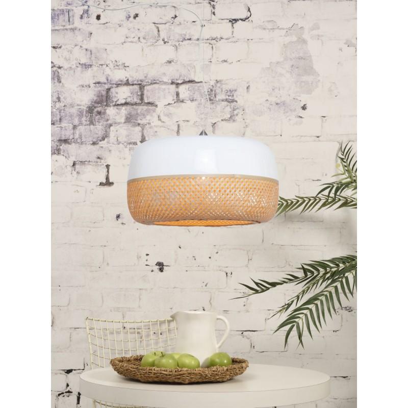Lampada a sospensione MEKONG di bambù piatto (60 cm) 1 tonalità (bianca, naturale) - image 45358