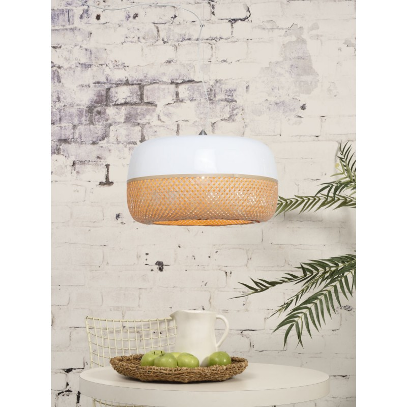 Lampe à suspension en bambou MEKONG plat (Ø 60 cm) 1 abat-jour (blanc, naturel) - image 45358