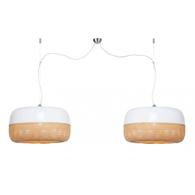 Lampada a sospensione MEKONG con bambù piatto (60 cm) 2 paralumi (bianco, naturale) - image 45359