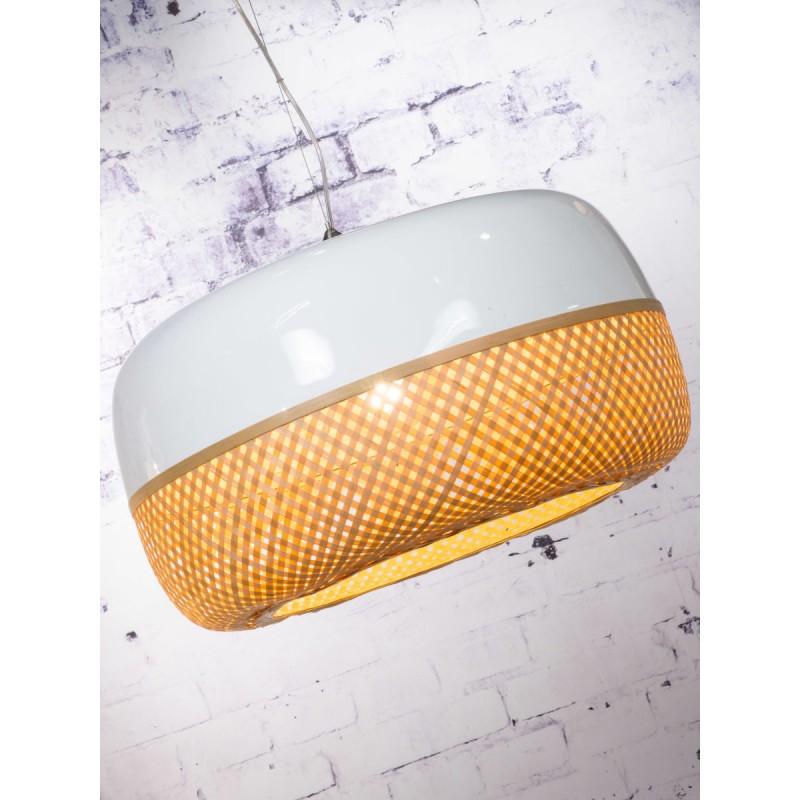 Lampe à suspension en bambou MEKONG plat (Ø 60 cm) 2 abat-jours (blanc, naturel) - image 45360