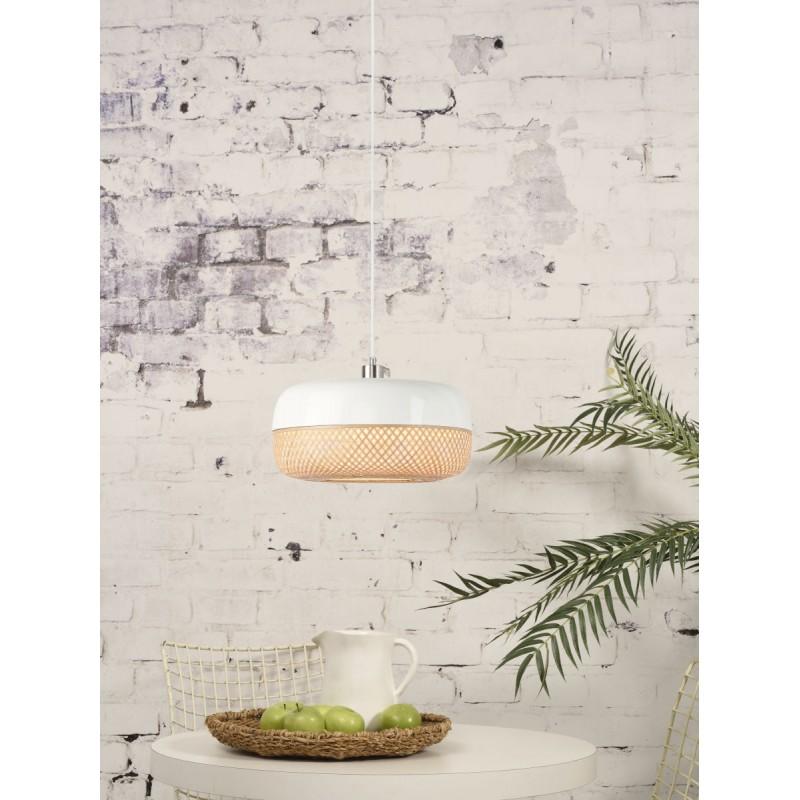 Lampada a sospensione MEKONG di bambù piatto (40 cm) (bianca, naturale) - image 45373