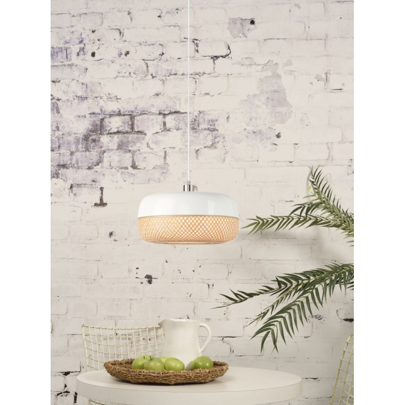 Lampe à suspension en bambou MEKONG plat (Ø 40 cm) (blanc, naturel) - image 45373