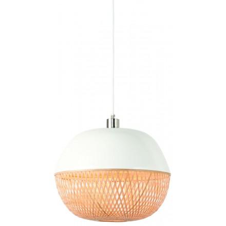 Lámpara de suspensión redonda de bambú MEKONG (40 cm) (blanco, natural)