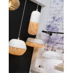 Lampada a sospensione in bambù rotondo MEKONG (40 cm) (bianca, naturale)