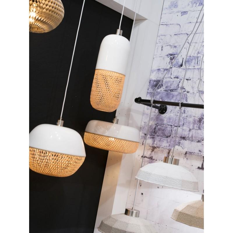 Lampada a sospensione in bambù rotondo MEKONG (40 cm) (bianca, naturale) - image 45378