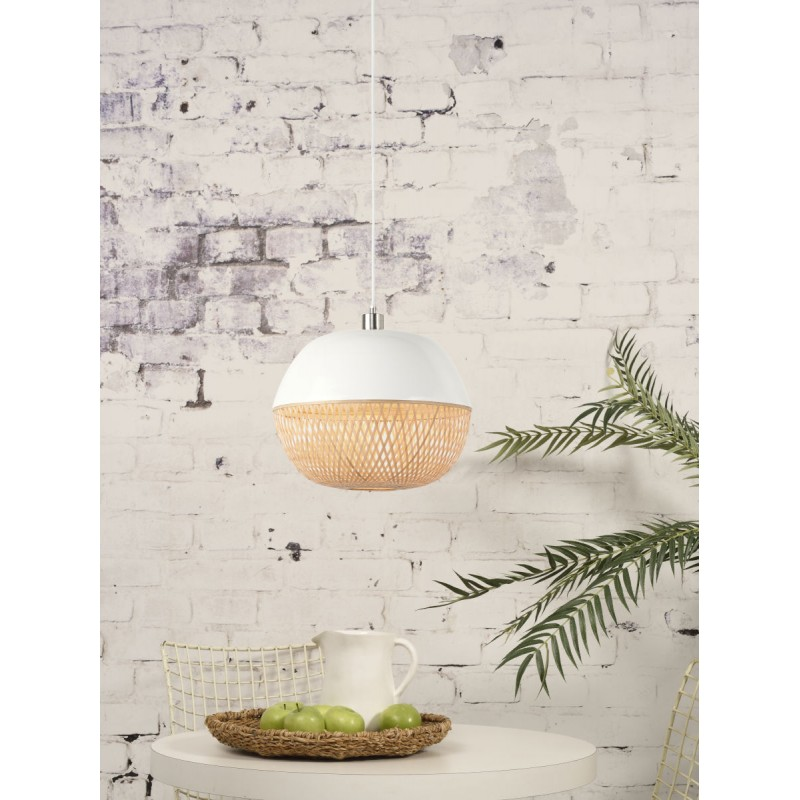 Lampada a sospensione in bambù rotondo MEKONG (40 cm) (bianca, naturale) - image 45382