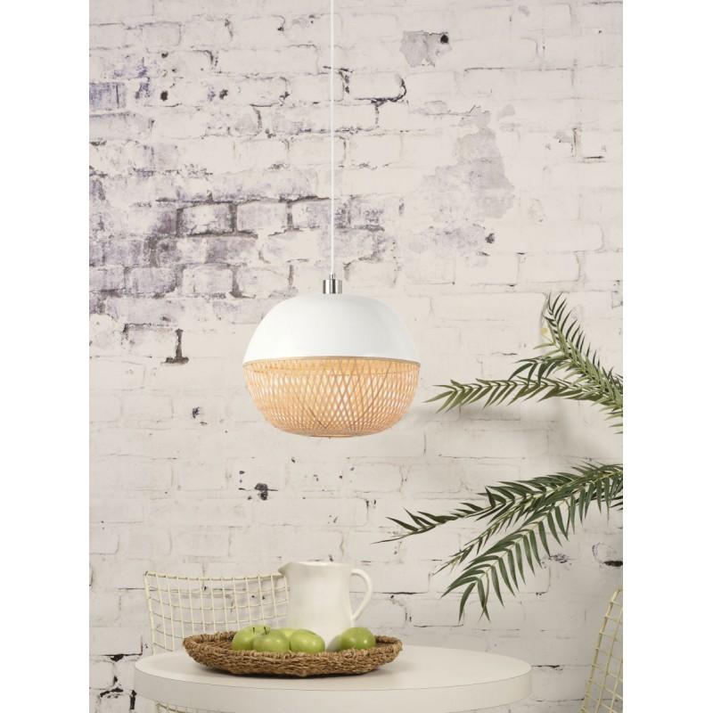 Lampe à suspension en bambou MEKONG rond (Ø 40 cm) (blanc, naturel) - image 45382