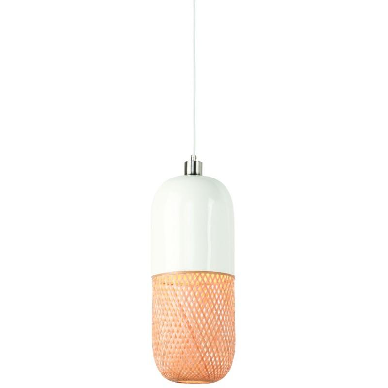 Lámpara de suspensión de bambú ovalada MEKONG (40 cm) (blanco, natural) - image 45384