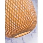 MEKONG ovale BambusHängeleuchte (40 cm) (weiß, natur)