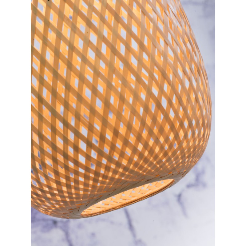 MEKONG oval bamboo suspension lamp (40 cm) (white, natural) - image 45385
