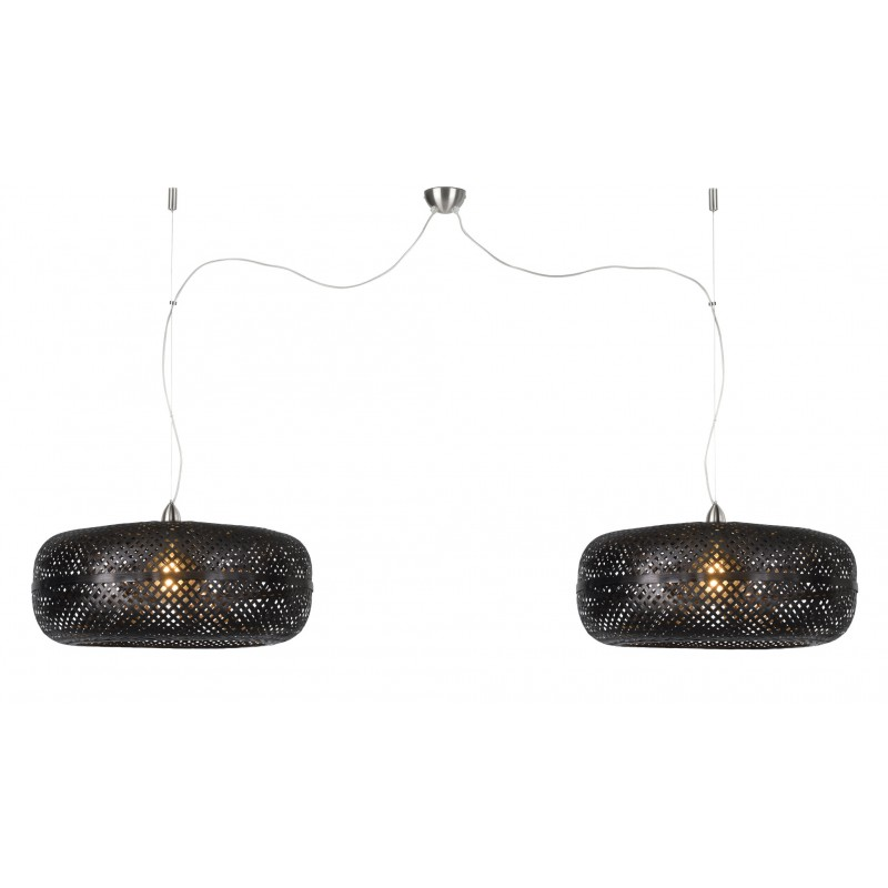 PALAWAN Bambus Hängeleuchte 2 Lampenschirme (schwarz)