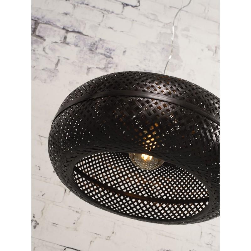 PALAWAN bamboo suspension lamp 2 lampshades (black) - image 45446
