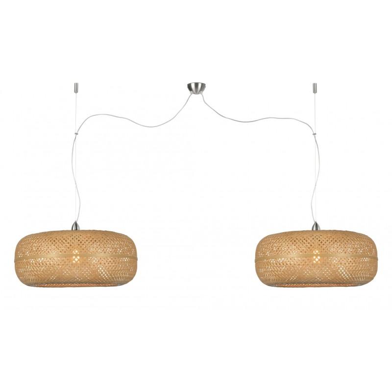 PalaWAN lámpara de suspensión de bambú 2 pantallas (natural)