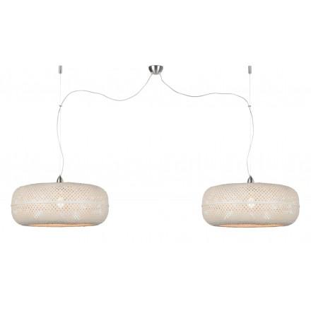 PALAWAN bamboo suspension lamp 2 lampshades (white)