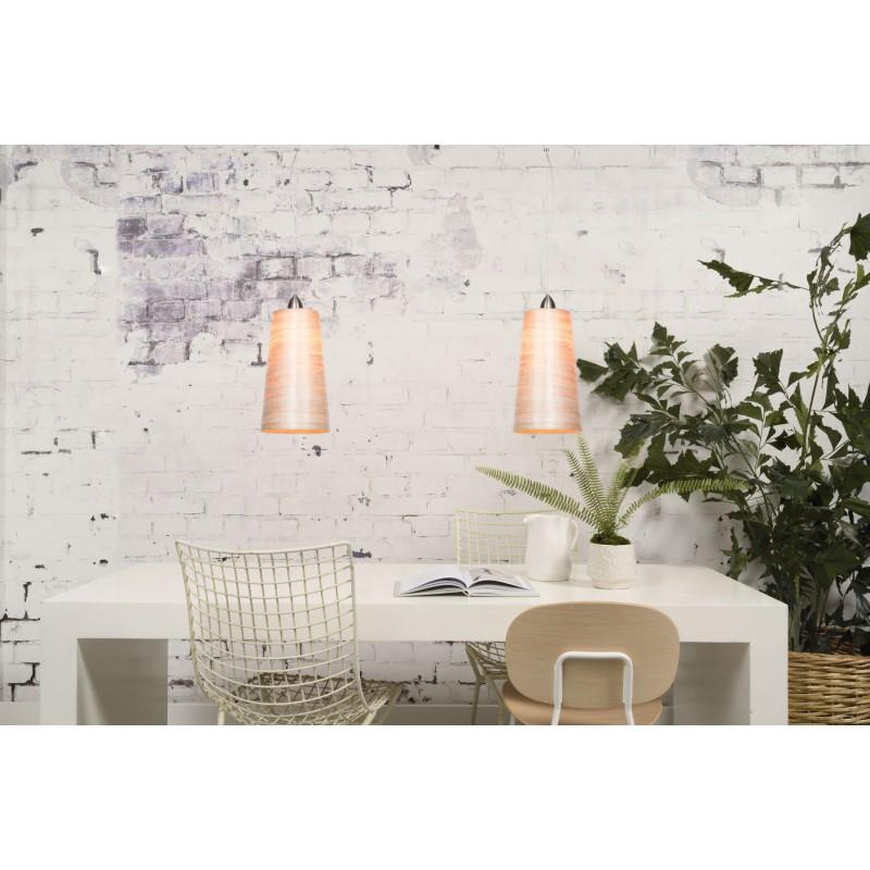 SUSPENSION Lampe in abaca SAHARA XL 2 Lampenschirme (natürlich) - image 45526
