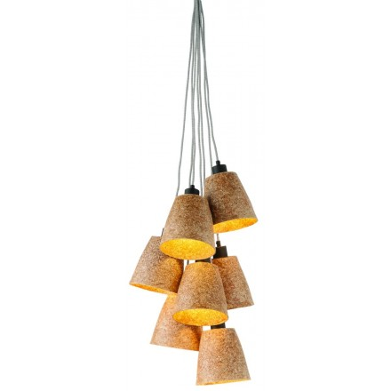 SUSPENSION lamp in wood chips SEQUOIA 7 lampshades (natural)