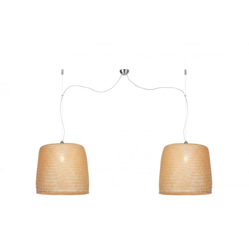Bamboo sospensione lampada SERENGETI 2 paralumi (naturale) - image 45565