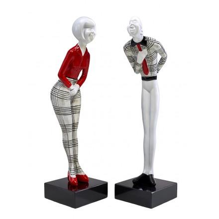 Set di 2 statue sculture decorative disegno COUPLE in resina H48 cm (rosso, nero, bianco)