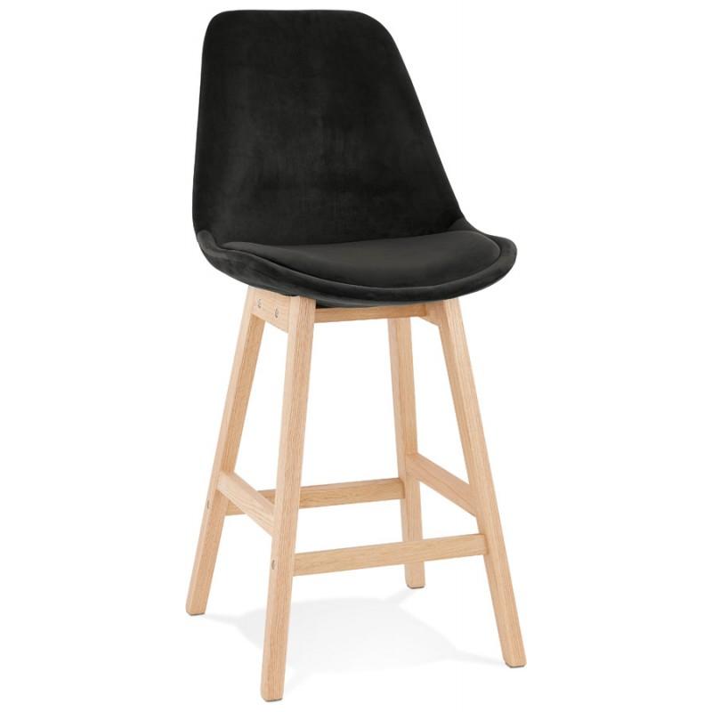 Tabouret de bar mi-hauteur design scandinave en velours pieds couleur naturelle CAMY MINI (noir)