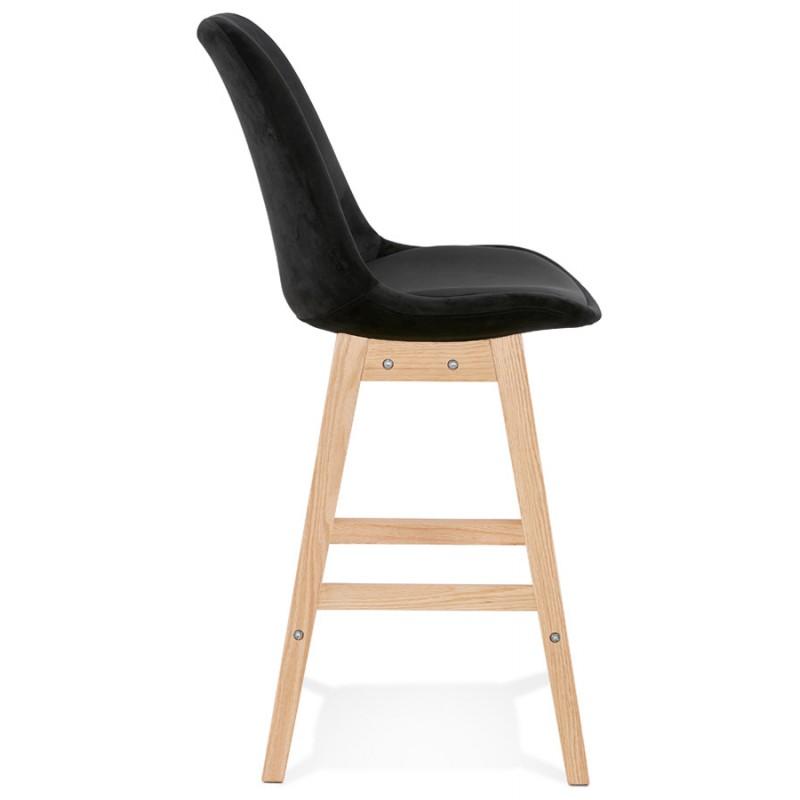 Tabouret de bar mi-hauteur design scandinave en velours pieds couleur naturelle CAMY MINI (noir) - image 45594