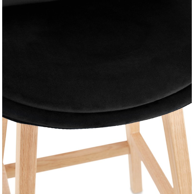 Mid-height bar pad Scandinavian design in natural-colored feet CAMY MINI (black) - image 45598