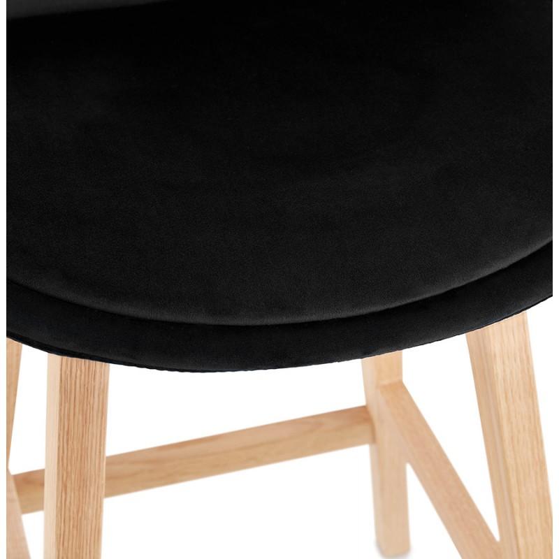 Tabouret de bar mi-hauteur design scandinave en velours pieds couleur naturelle CAMY MINI (noir) - image 45598