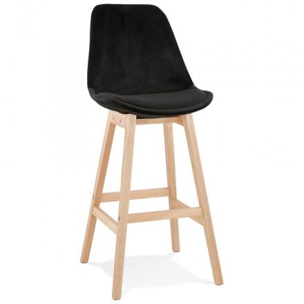 Taburete de barra de diseño escandinavo en pies de color natural CAMY (negro)