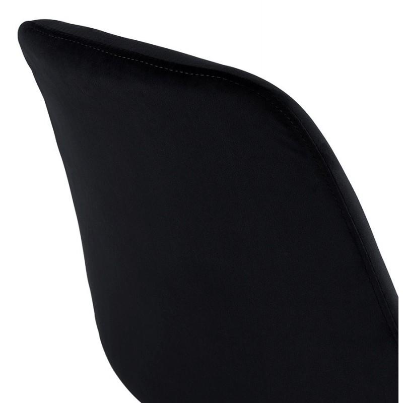 Tabouret de bar design scandinave en velours pieds couleur naturelle CAMY (noir) - image 45610