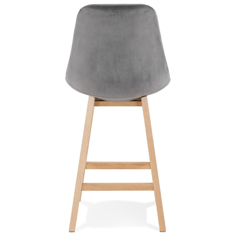 Tabouret de bar mi-hauteur design scandinave en velours pieds couleur naturelle CAMY MINI (gris) - image 45616