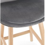 Tabouret de bar mi-hauteur design scandinave en velours pieds couleur naturelle CAMY MINI (gris)