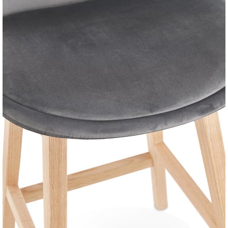 Tabouret de bar mi-hauteur design scandinave en velours pieds couleur naturelle CAMY MINI (gris) - image 45617