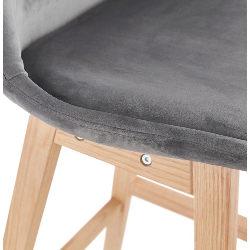 Tabouret de bar mi-hauteur design scandinave en velours pieds couleur naturelle CAMY MINI (gris) - image 45619