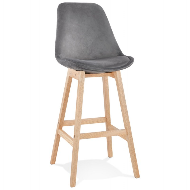 Tabouret de bar design scandinave en velours pieds couleur naturelle CAMY (gris)