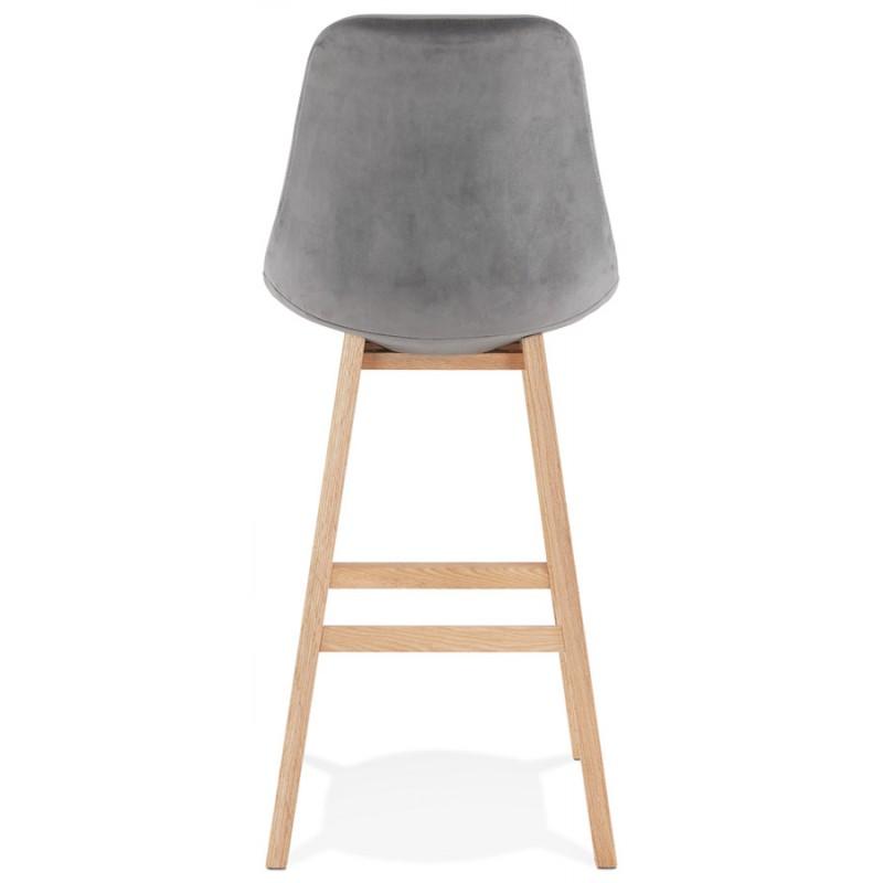 Tabouret de bar design scandinave en velours pieds couleur naturelle CAMY (gris) - image 45627