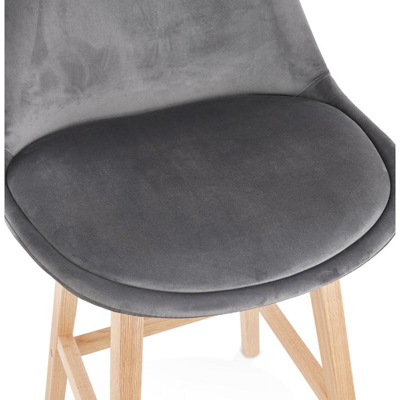 Tabouret de bar design scandinave en velours pieds couleur naturelle CAMY (gris) - image 45629
