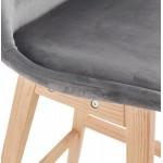 Tabouret de bar design scandinave en velours pieds couleur naturelle CAMY (gris)