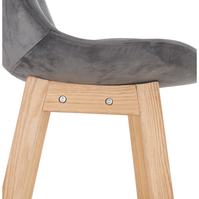 Scandinavian design bar stool in natural-colored feet CAMY (grey) - image 45631