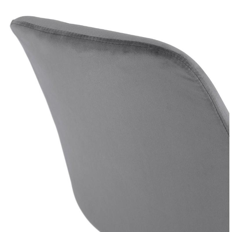 Tabouret de bar design scandinave en velours pieds couleur naturelle CAMY (gris) - image 45632