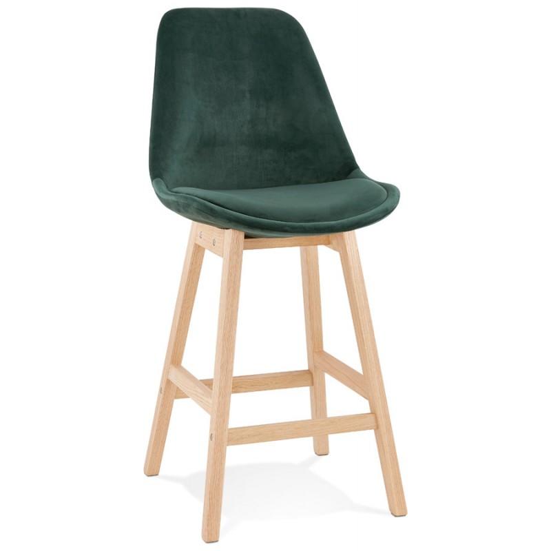 Tabouret de bar mi-hauteur design scandinave en velours pieds couleur naturelle CAMY MINI (vert)