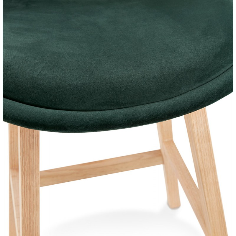 Tabouret de bar mi-hauteur design scandinave en velours pieds couleur naturelle CAMY MINI (vert) - image 45640