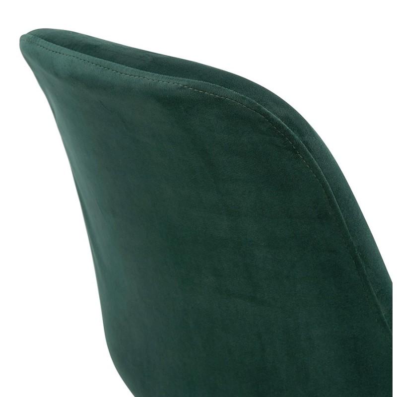 Tabouret de bar mi-hauteur design scandinave en velours pieds couleur naturelle CAMY MINI (vert) - image 45642