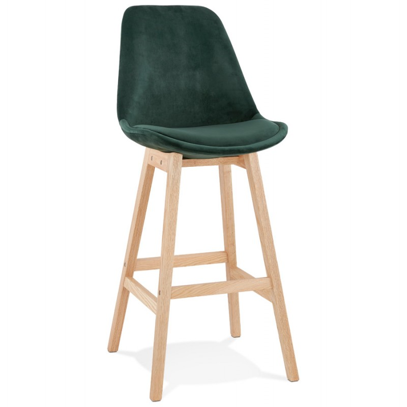 Tabouret de bar design scandinave en velours pieds couleur naturelle CAMY (vert) - image 45644